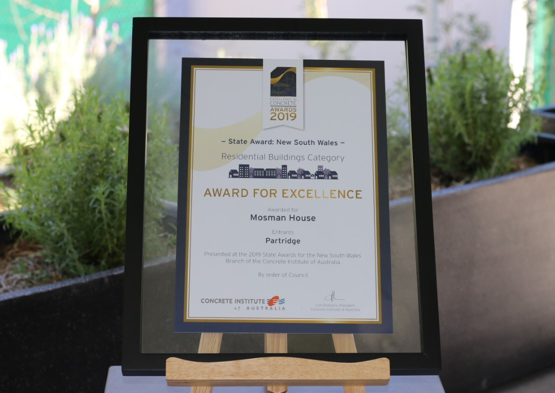 CIA NSW State award for Partridge